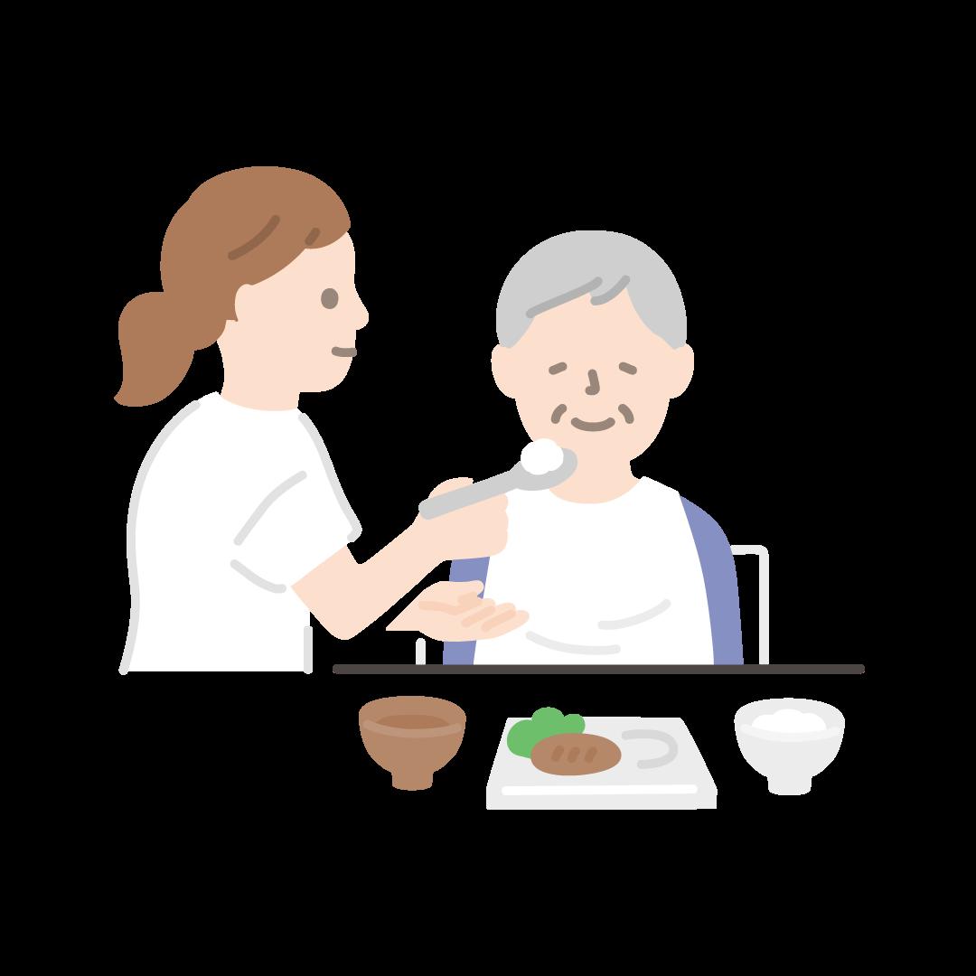 食事介助(ヘルパーとおばあさん)の塗りイラスト
