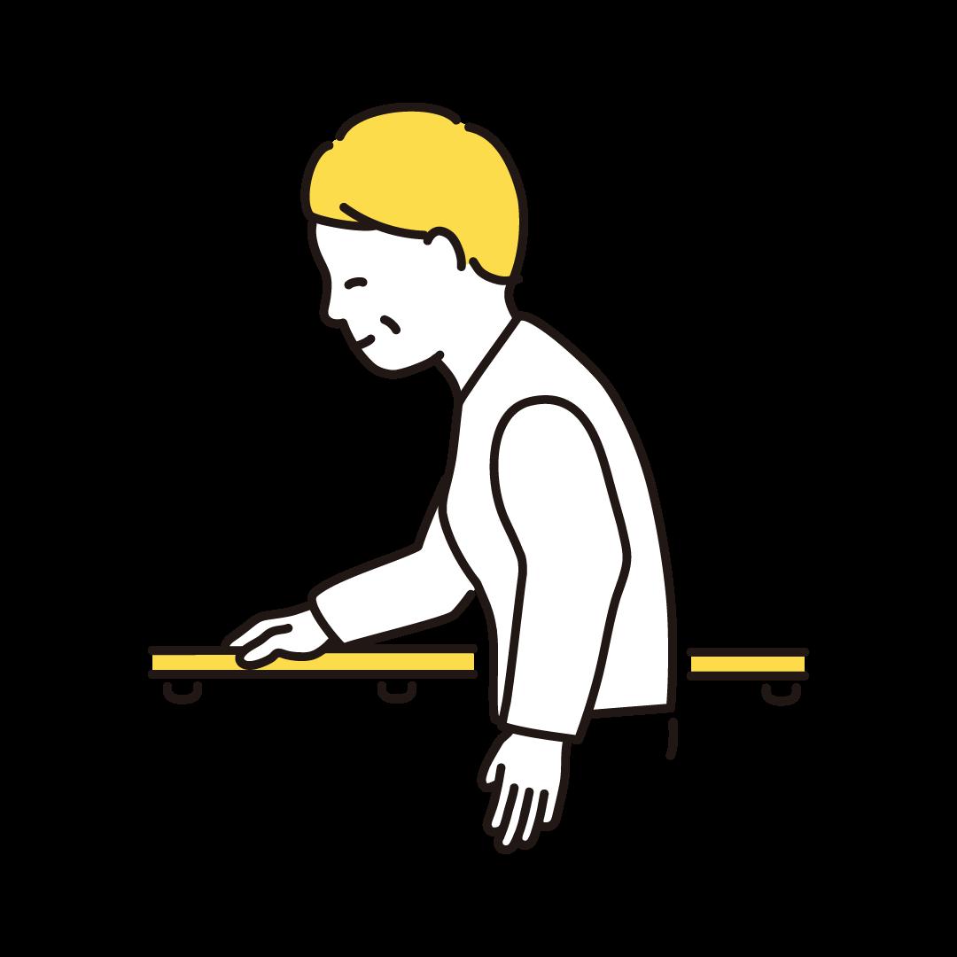 手すりに捕まって歩くシニア女性の単色イラスト