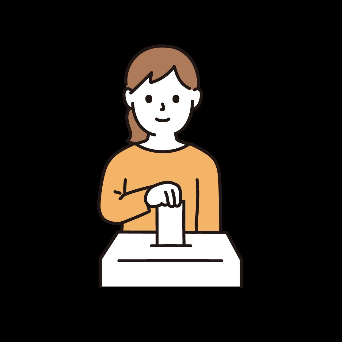 投票している女性のイラスト