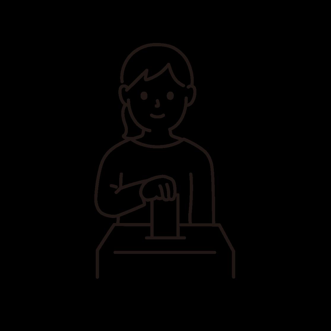 投票している女性のイラスト(線画)