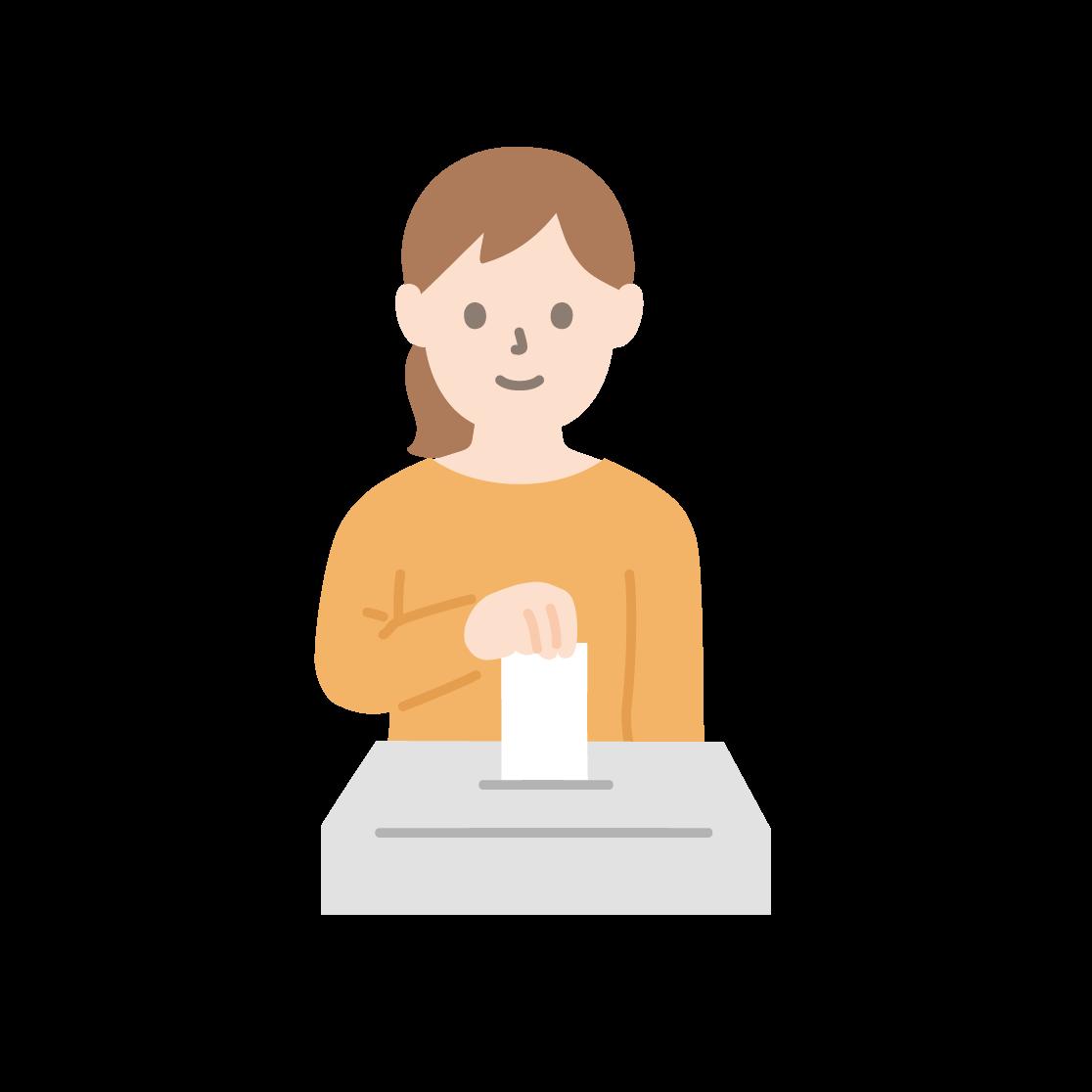 投票している女性のイラスト(塗り)