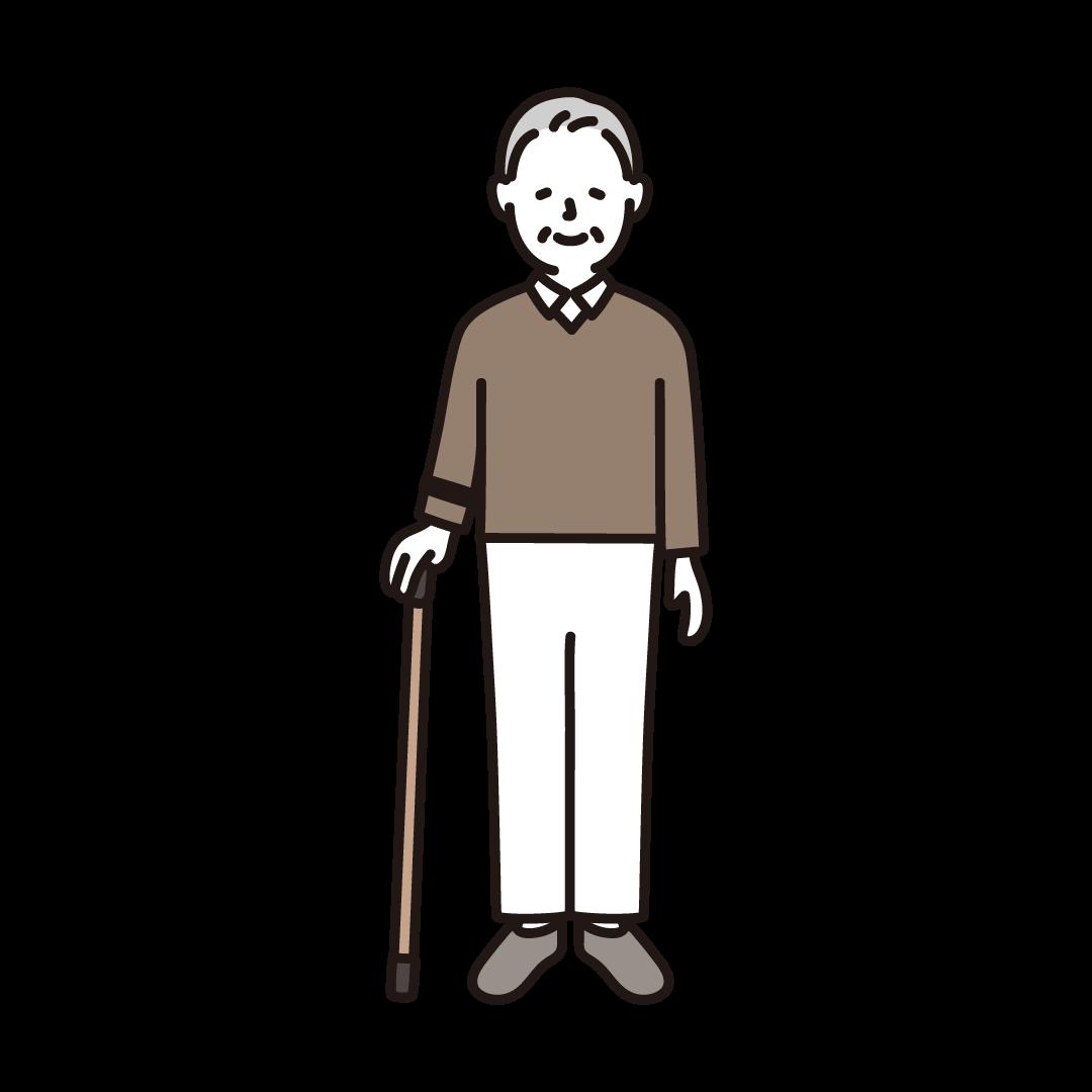杖をつくおじいさんのイラスト