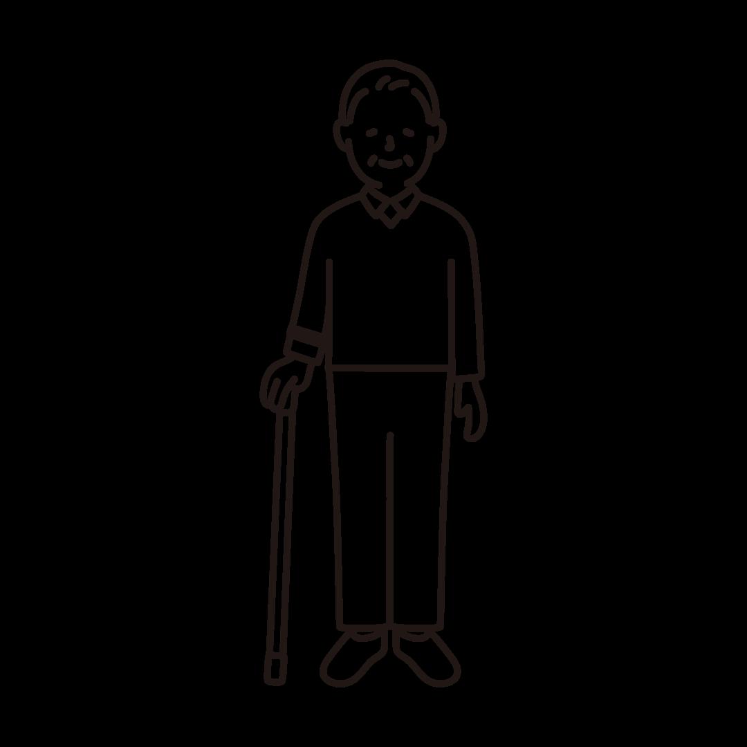 杖をつくおじいさんの線イラスト