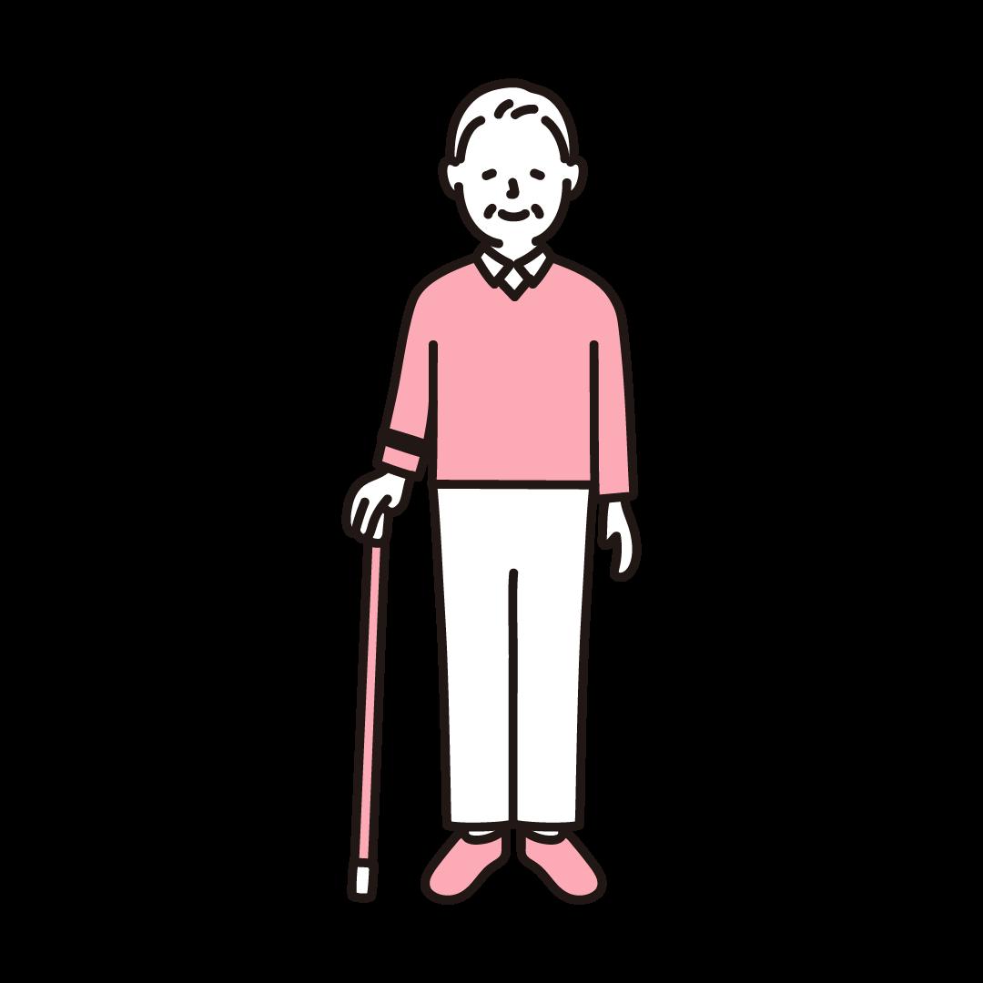 杖をつくシニア男性の単色イラスト