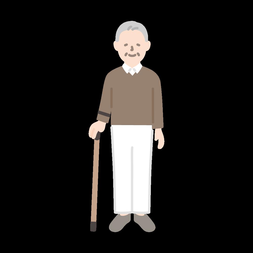 杖をつくおじいさんの塗りイラスト