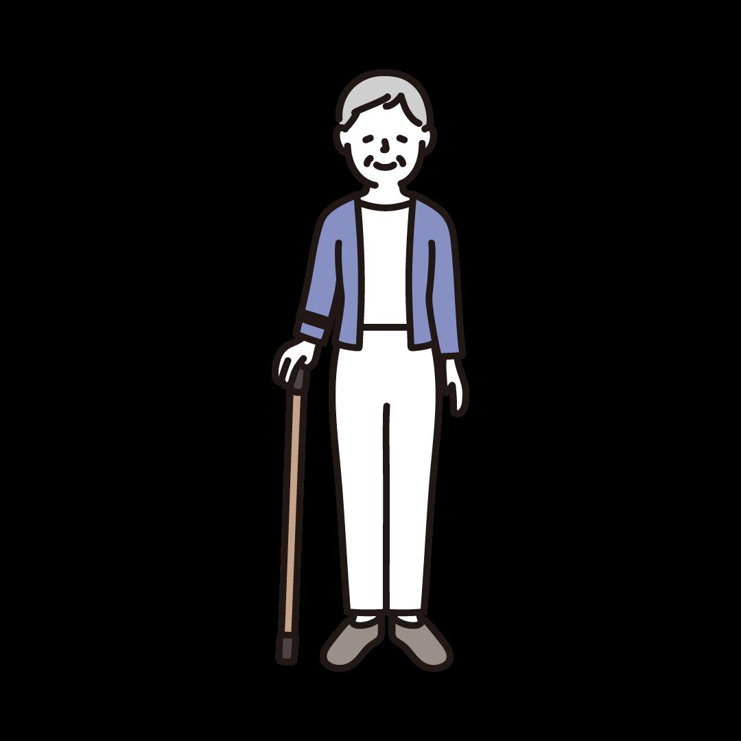 杖をつく高齢者(女性)