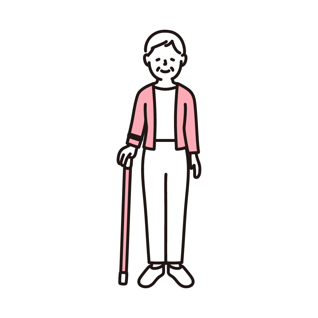 杖をつくシニア女性の単色イラスト