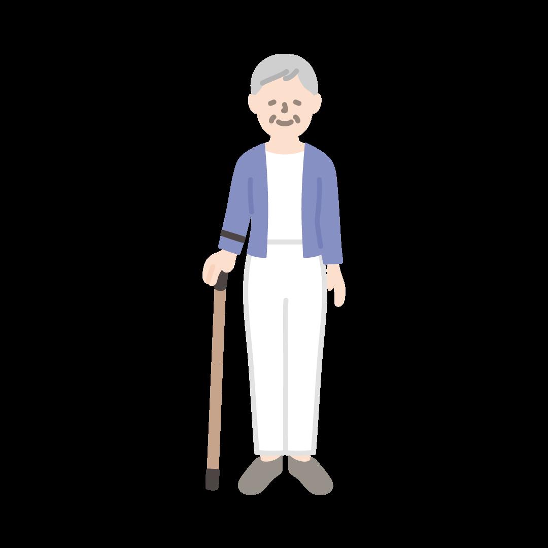 杖をつくおばあさんの塗りイラスト