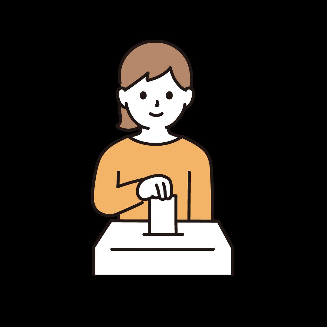 投票する女性のイラスト