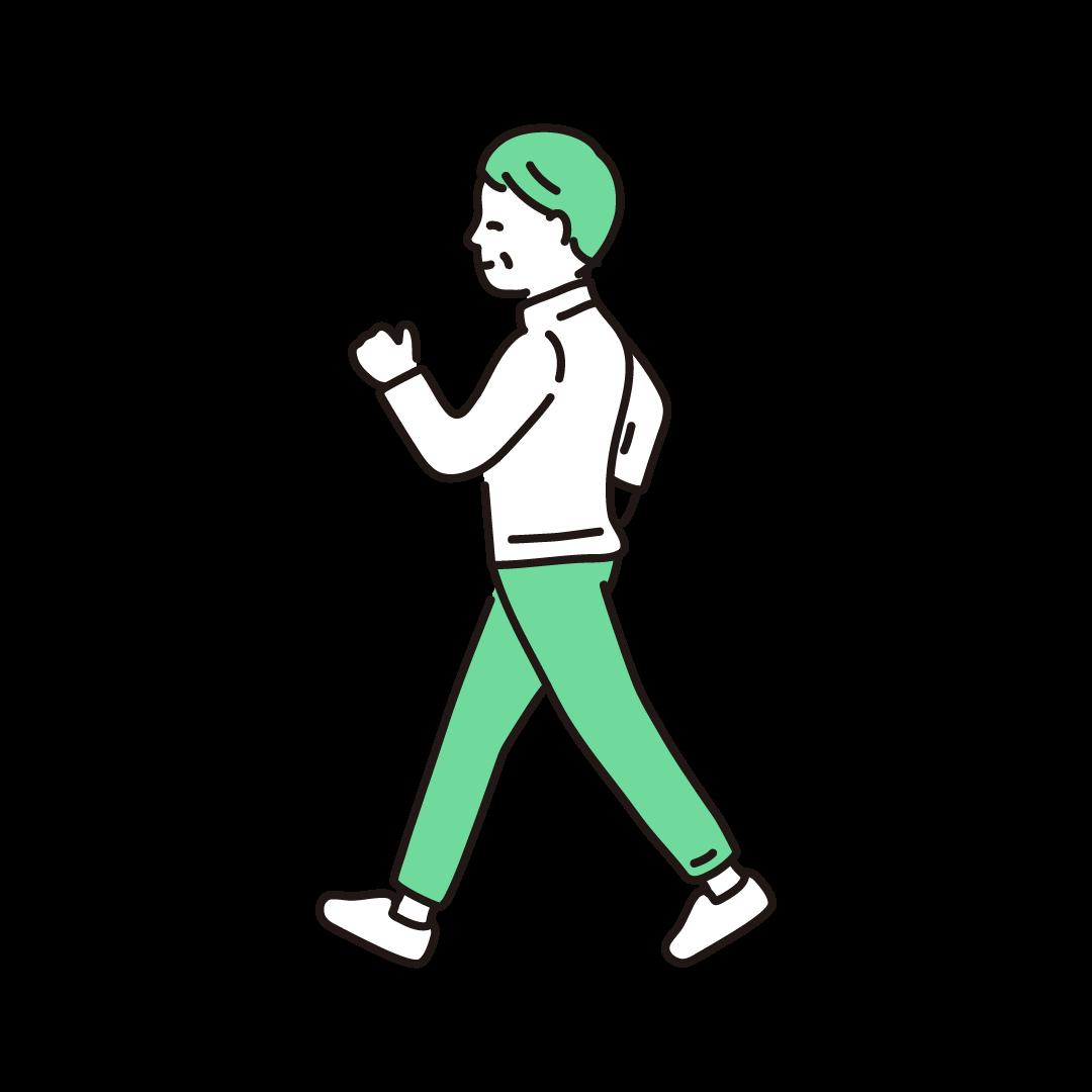 ウォーキングをするシニア女性の単色イラスト