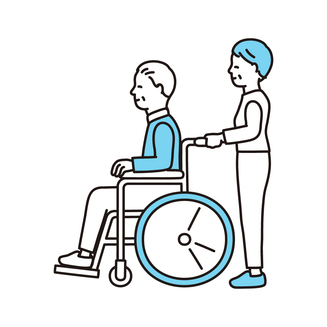 車椅子を押すシニア夫婦の単色イラスト