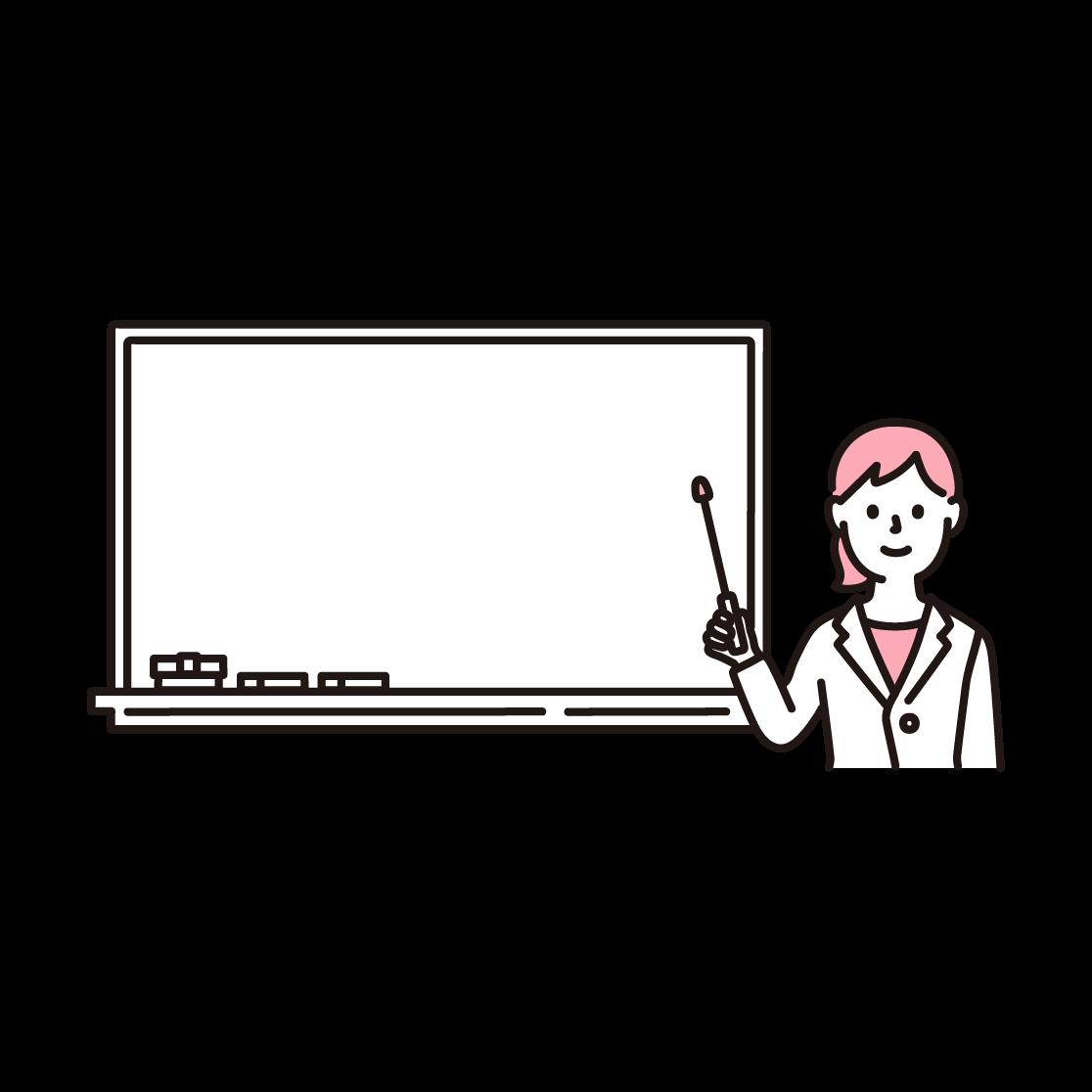 ホワイトボードと女性のイラスト(単色)