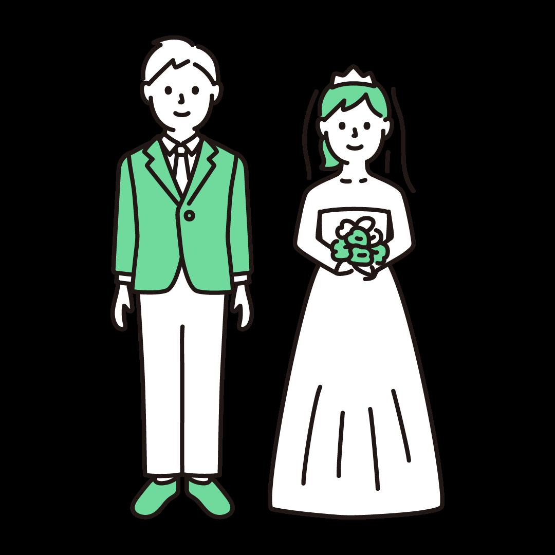新郎新婦の単色イラスト