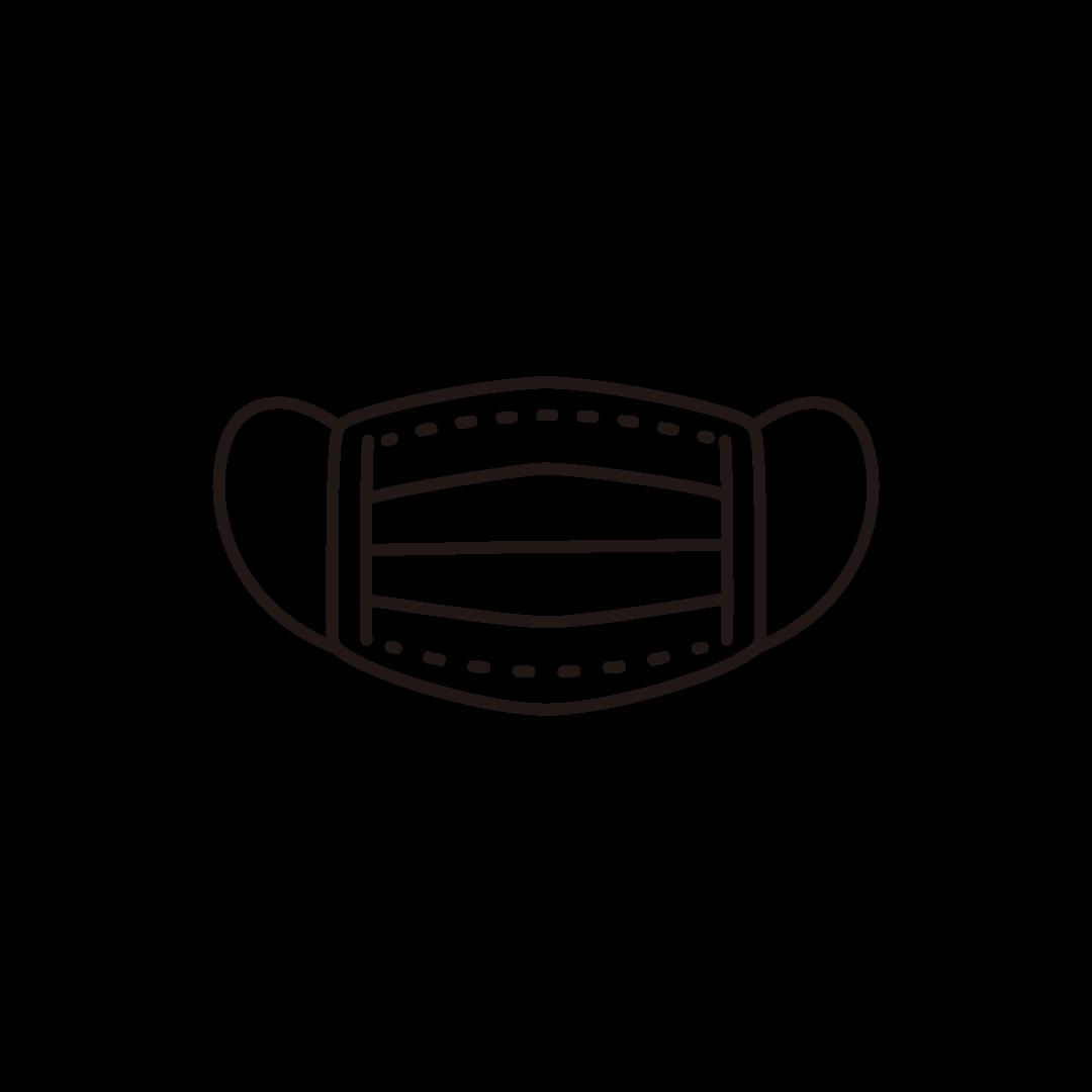 不織布マスクの線画イラスト