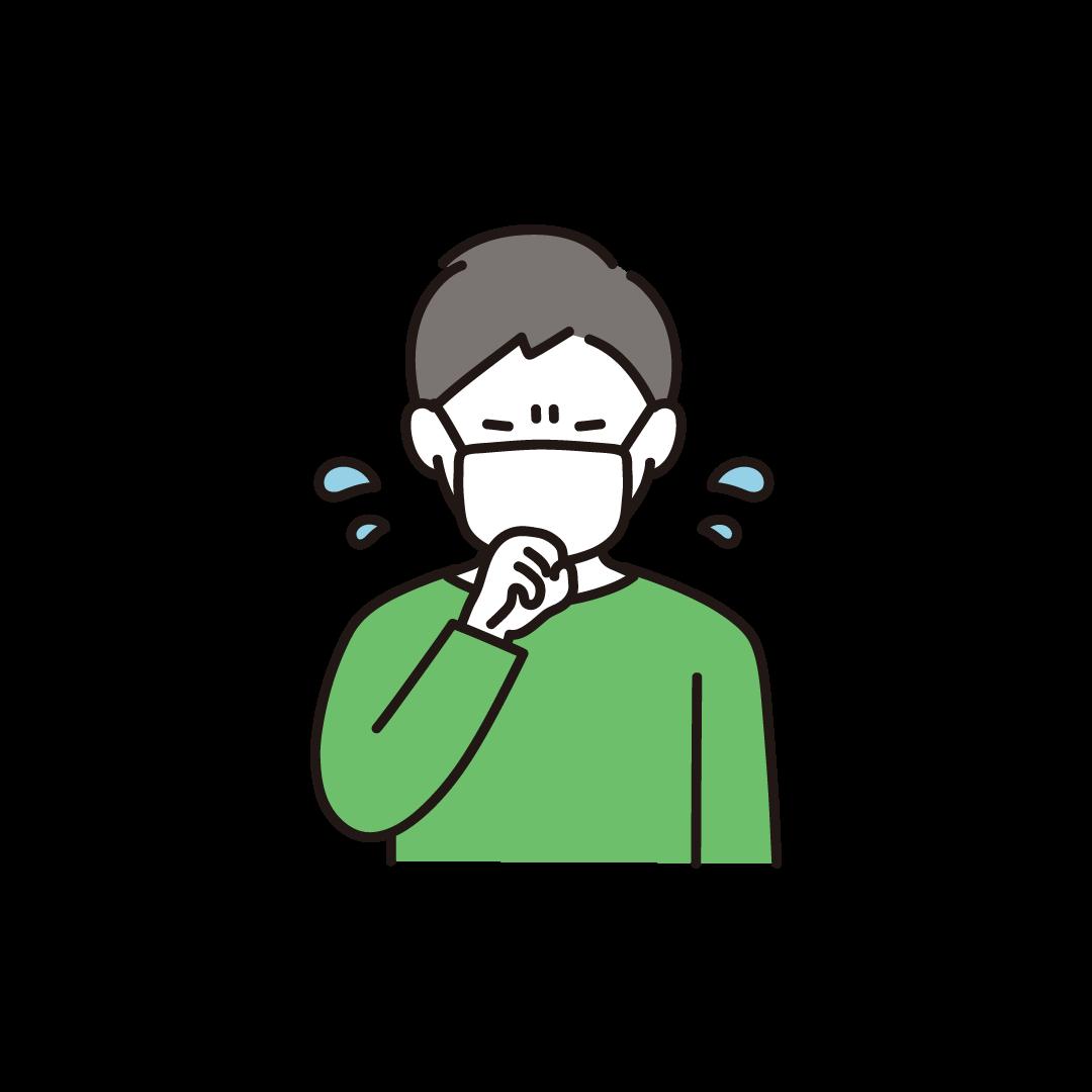 咳をする男性のイラスト