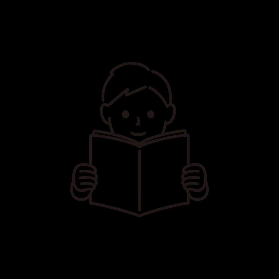 本を読む男性の線画イラスト
