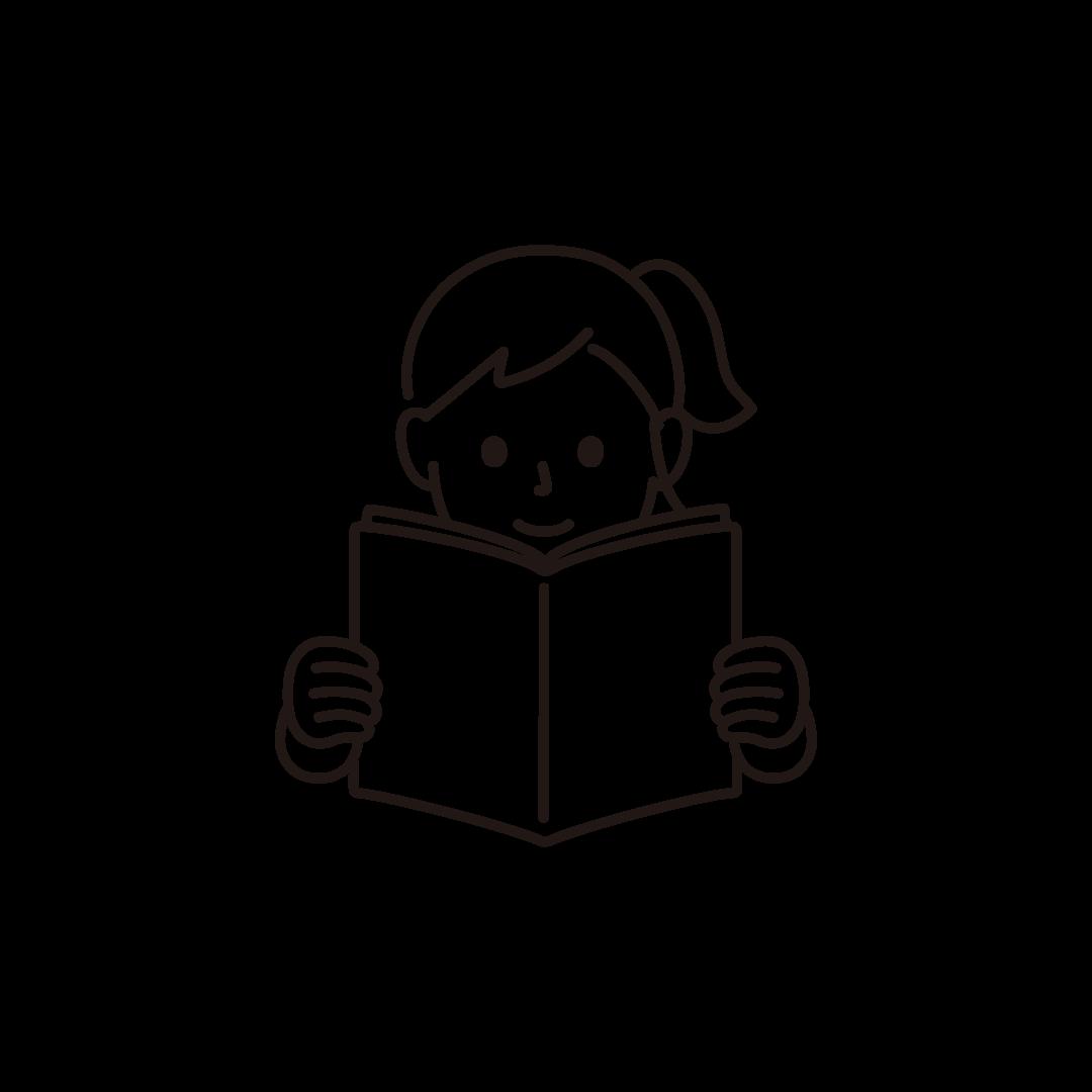 本を読む女性の線画イラスト