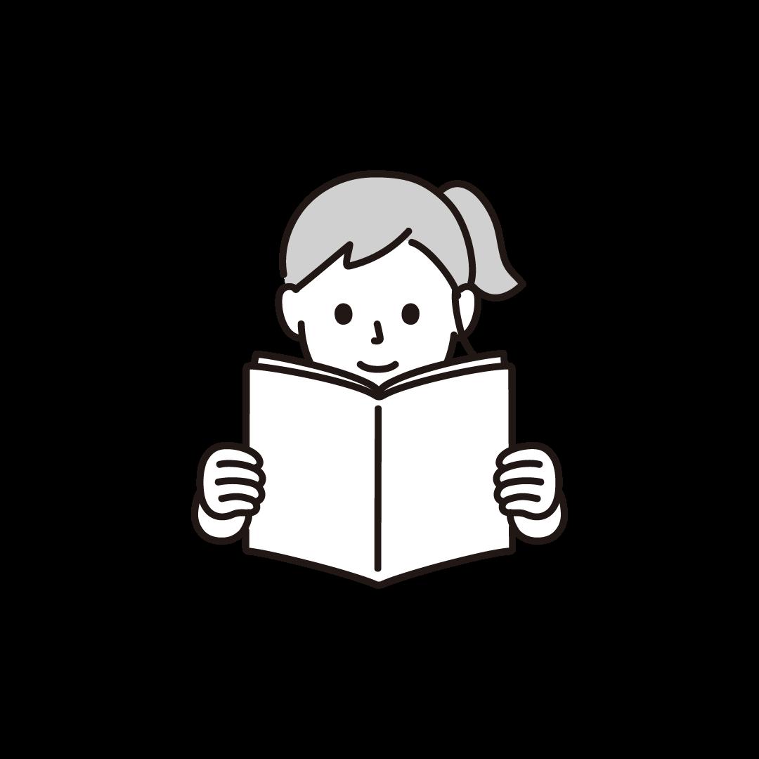 本を読む女性の単色イラスト