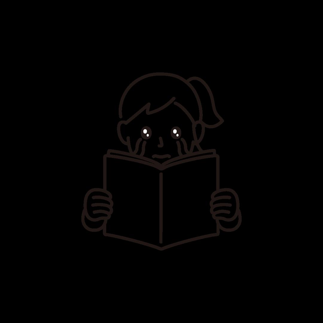 泣きながら本を読む女性の線画イラスト