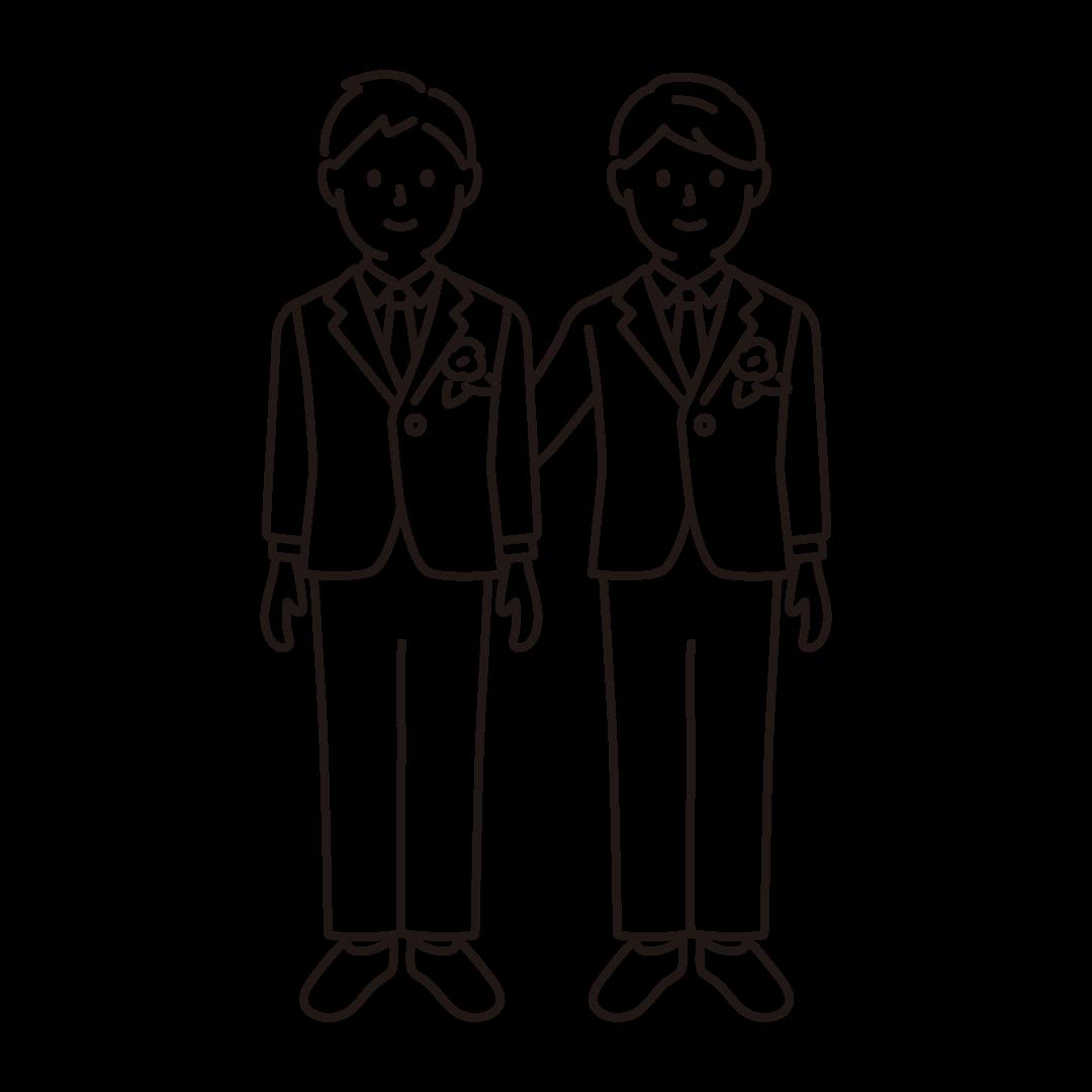 同性婚(男性)の線画イラスト