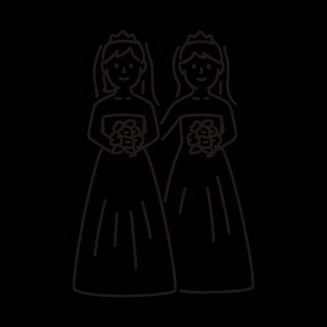 同性婚(女性)の線画イラスト