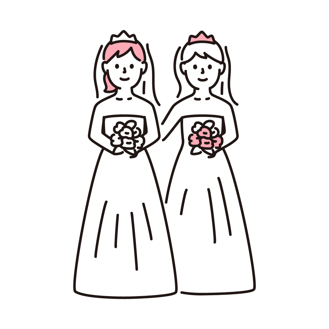 同性婚(女性)の単色イラスト