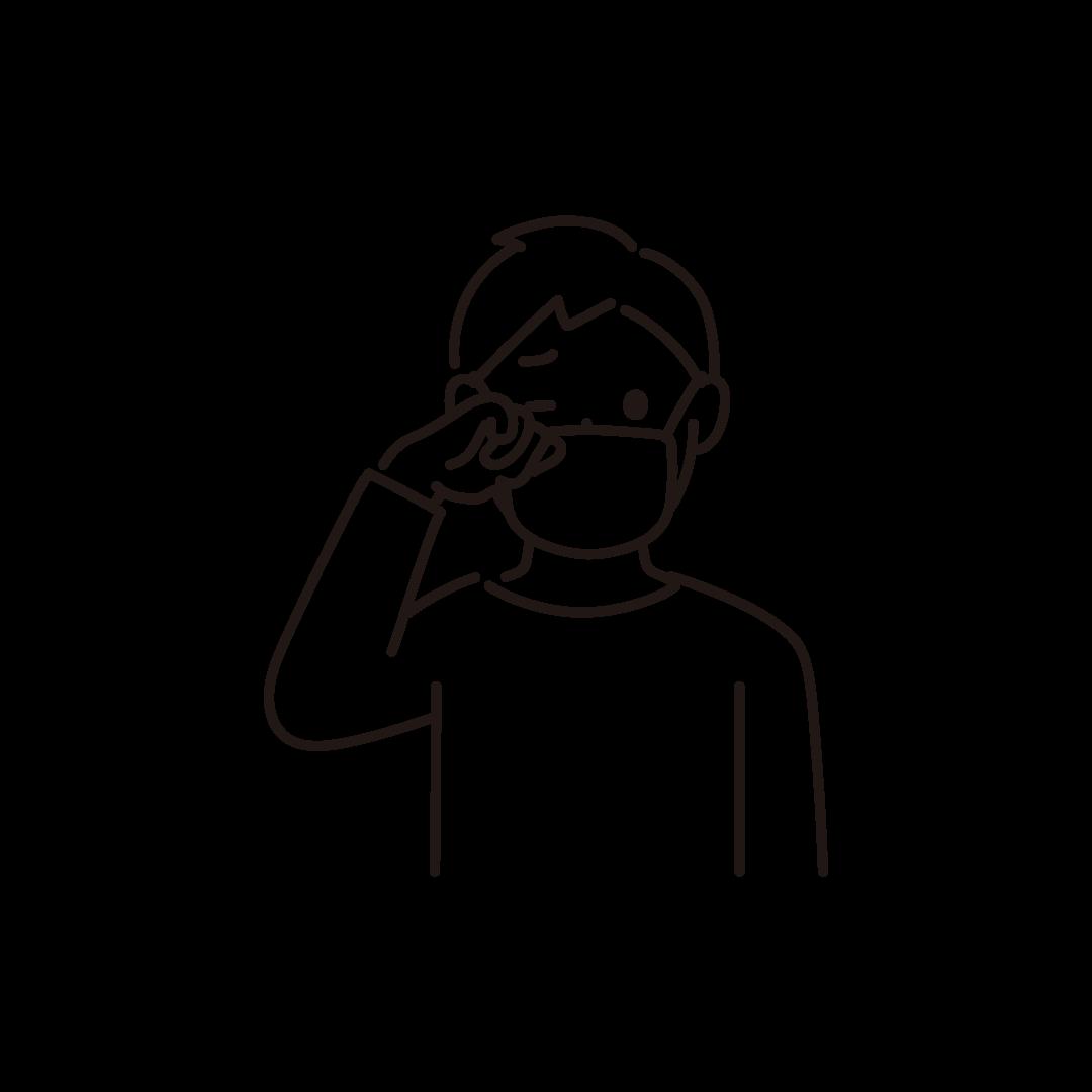 目をこする男性の線画イラスト