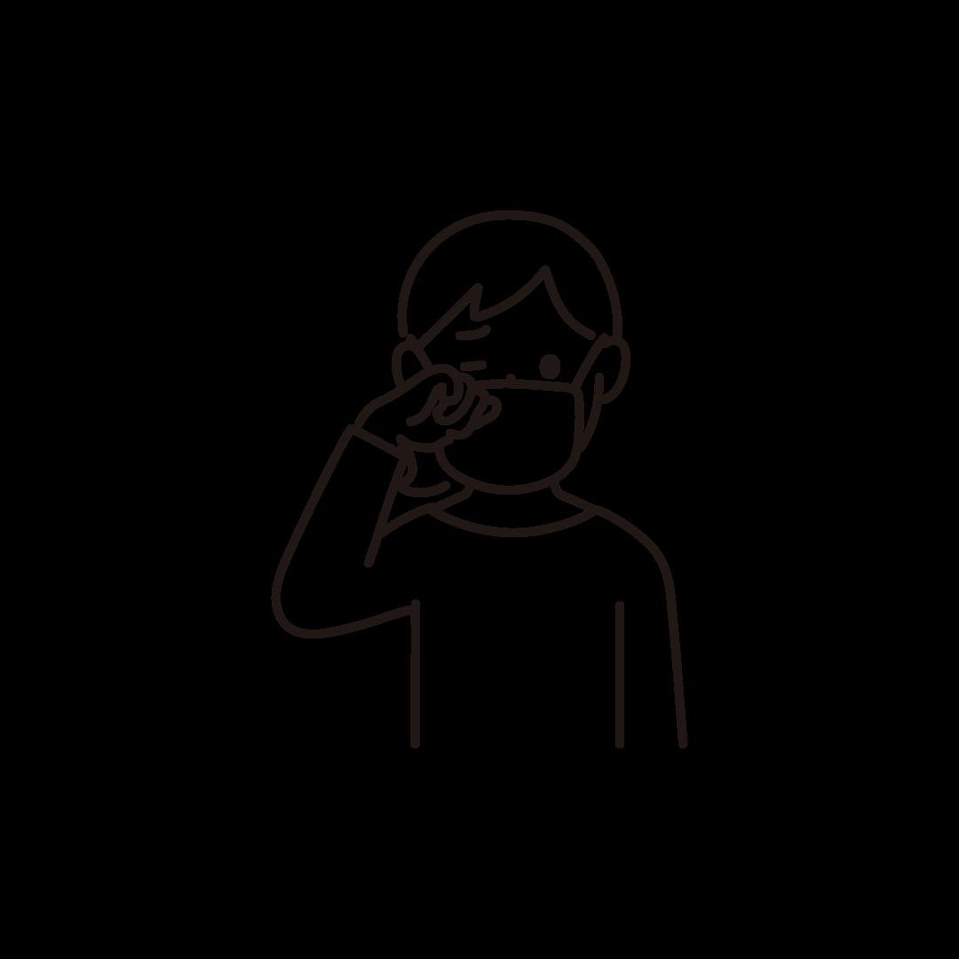 目をこする女性の線画イラスト
