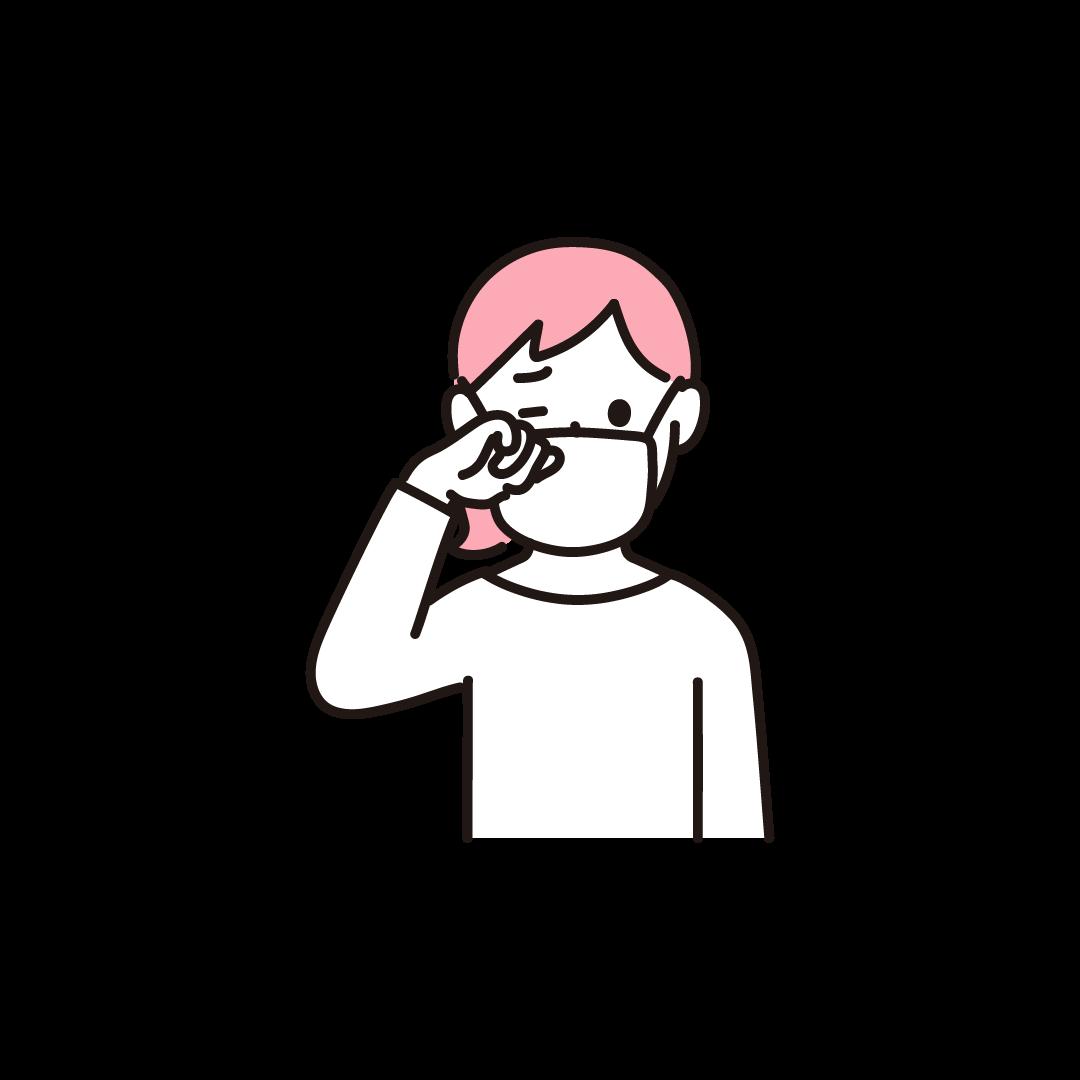 目をこする女性の単色イラスト