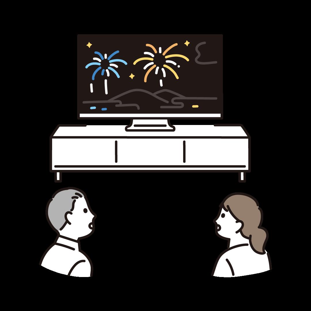 オンライン花火を鑑賞する人のイラスト