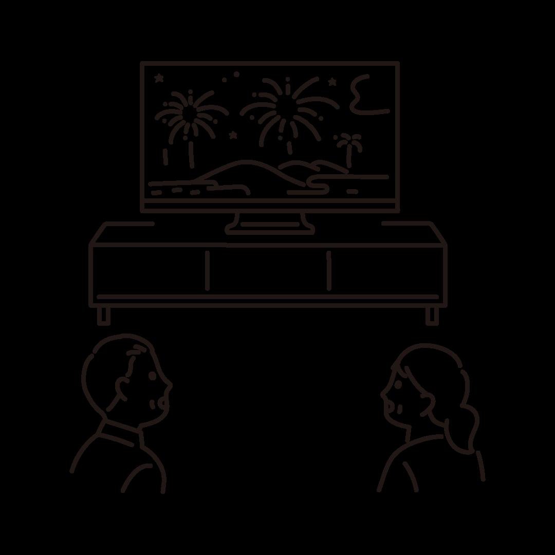 オンライン花火を鑑賞する人の線画イラスト