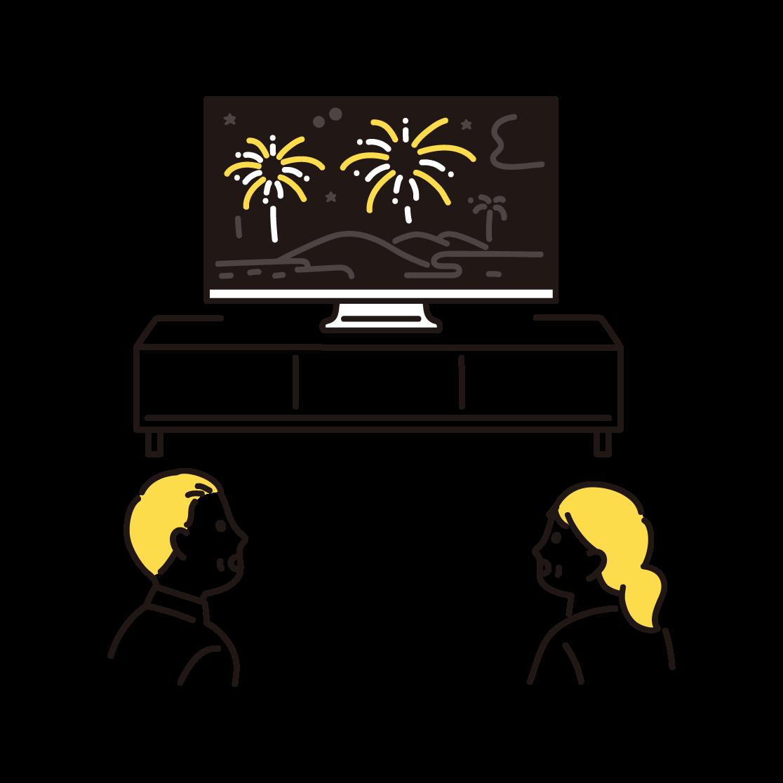 オンライン花火を鑑賞している人の単色イラスト