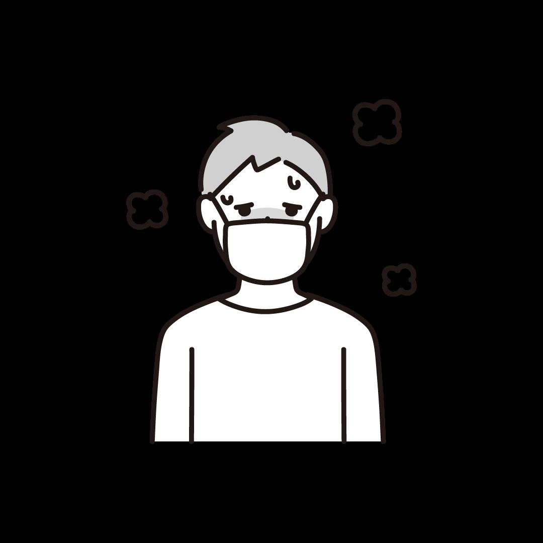 発熱(男性)の単色イラスト