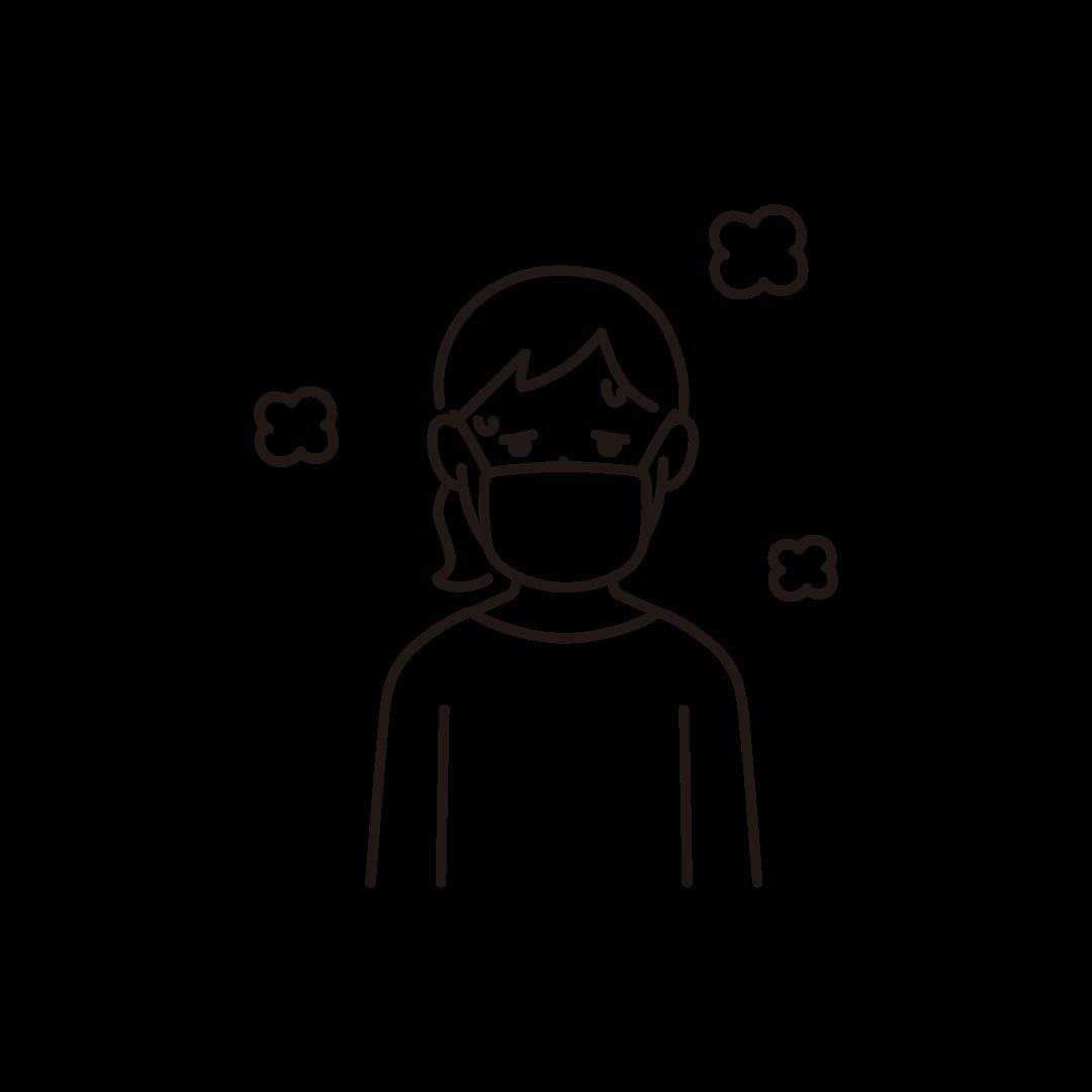 発熱(女性)の線画イラスト