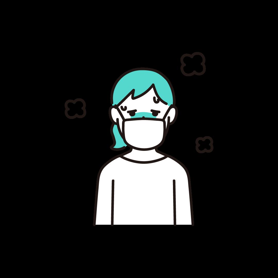 発熱(女性)の単色イラスト