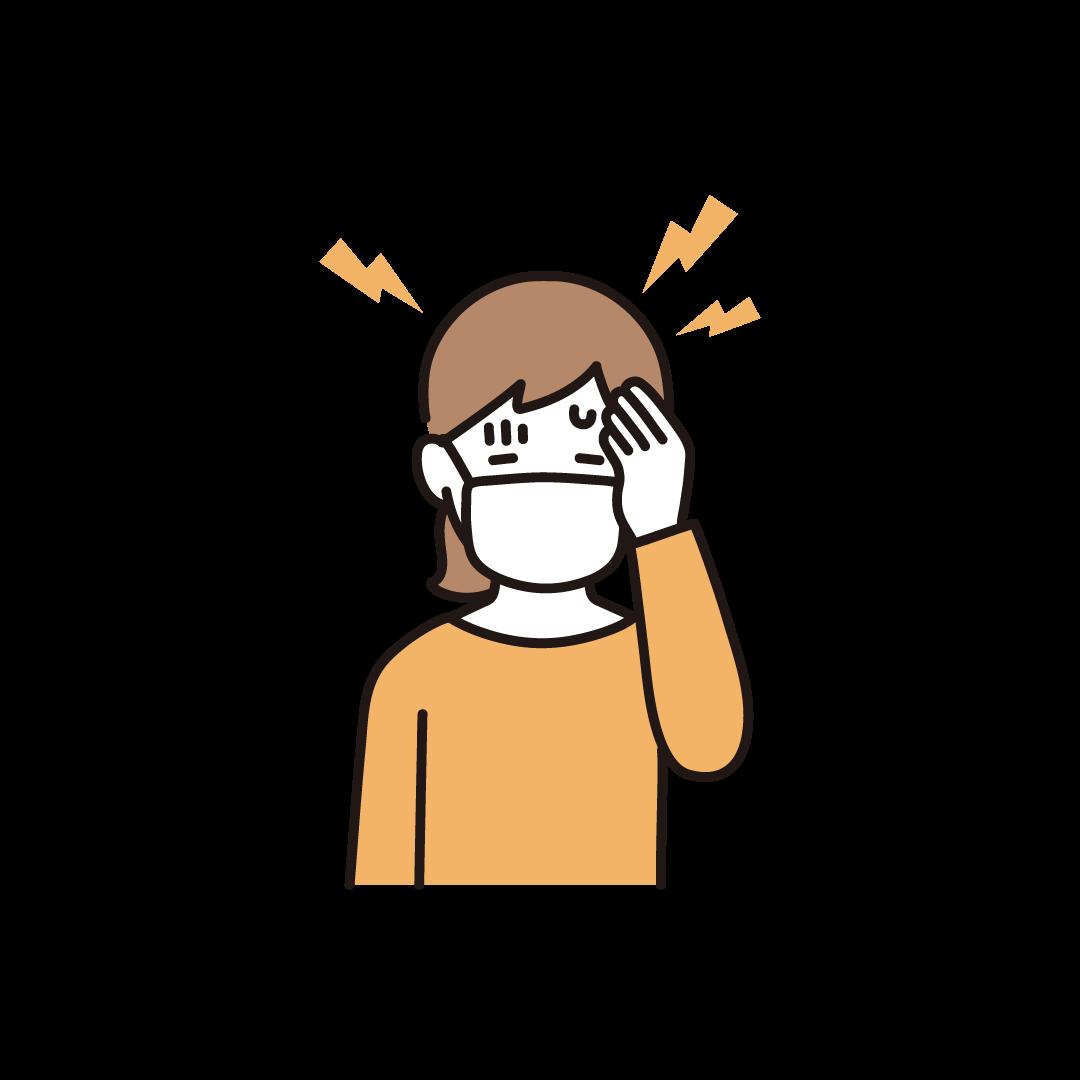 頭痛(女性)のイラスト