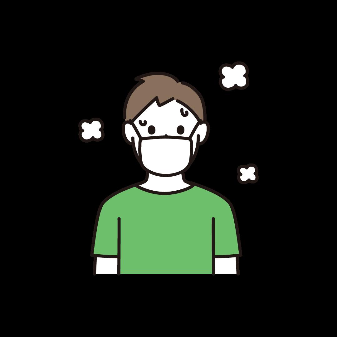 マスクをして汗をかいている男性