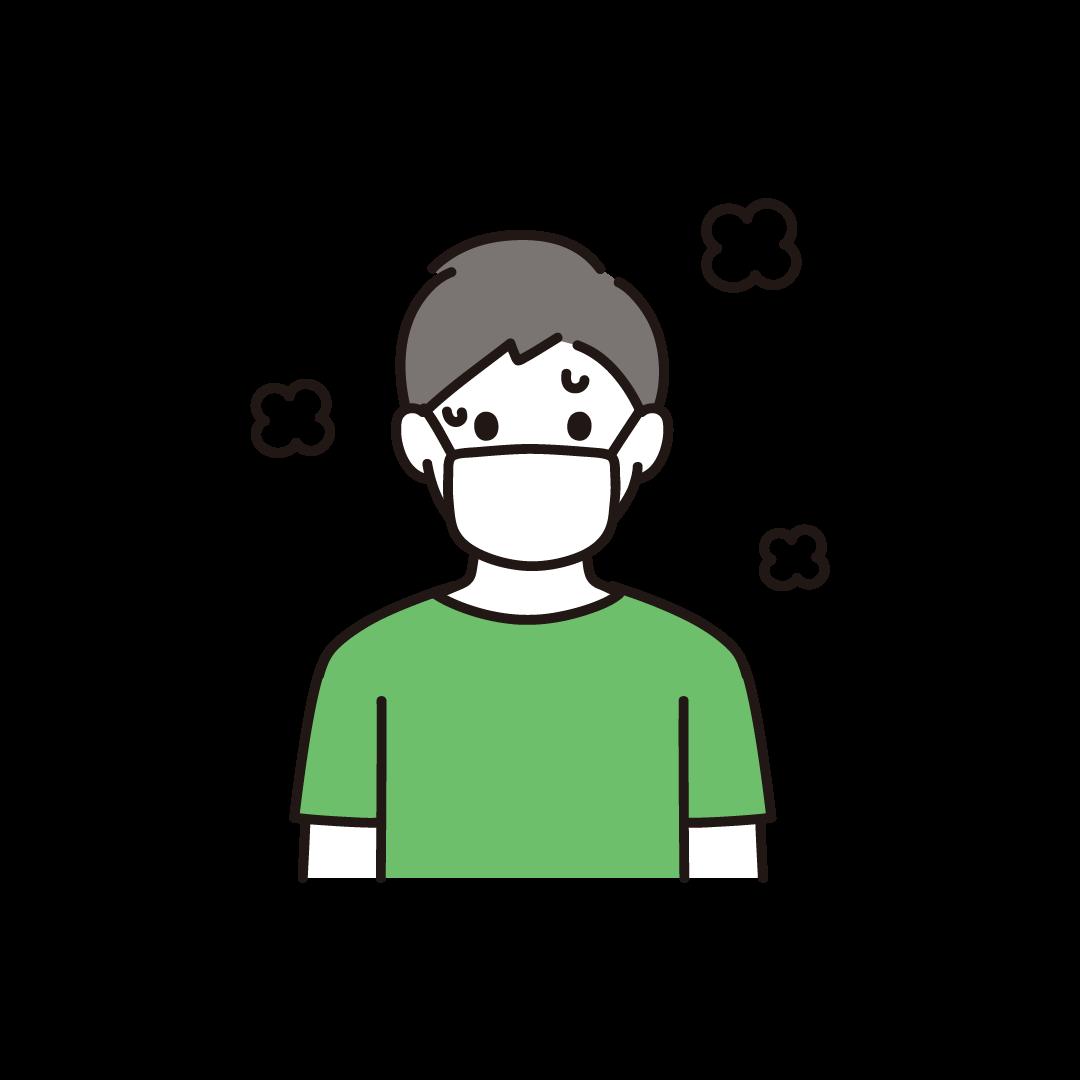 マスクをして汗をかいている男性のイラスト