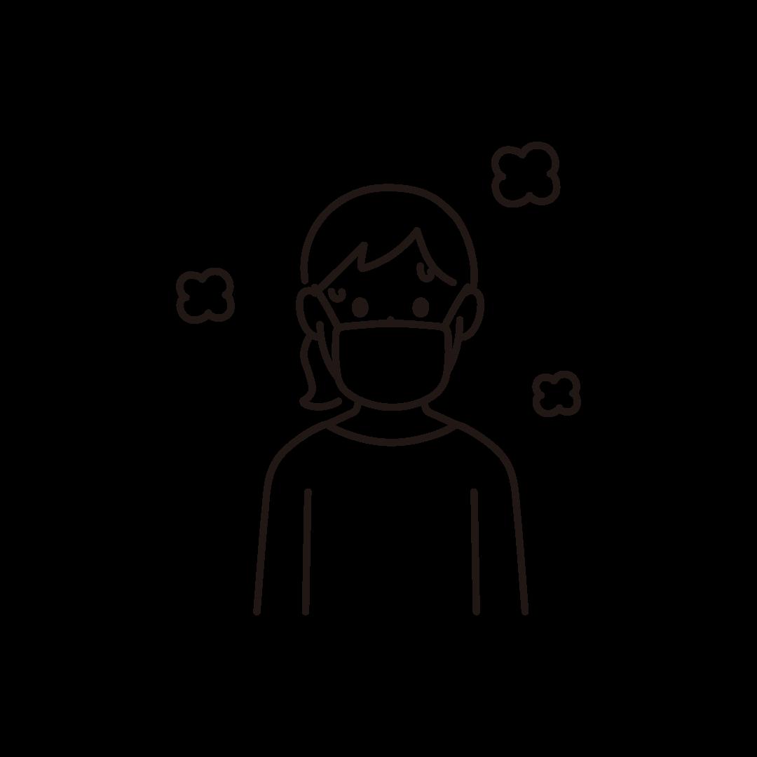 マスクをして汗をかいている女性の線画イラスト