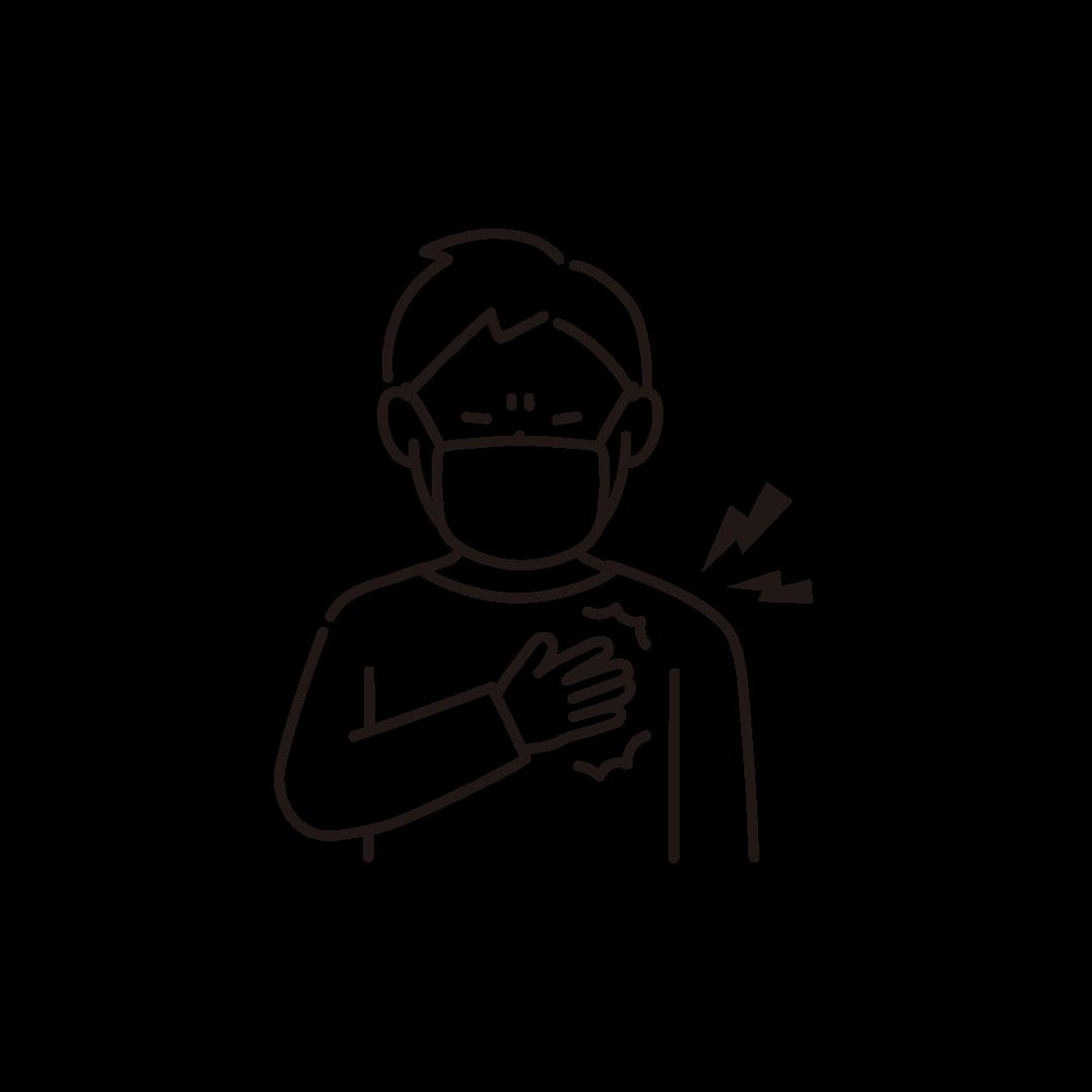 胸が苦しい男性の線画イラスト