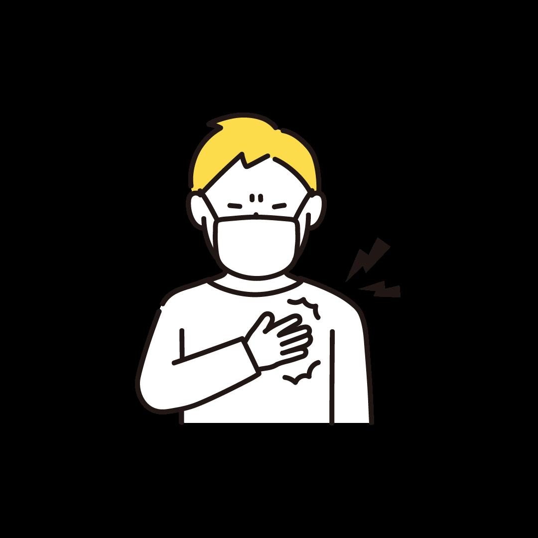 胸が痛い男性の単色イラスト