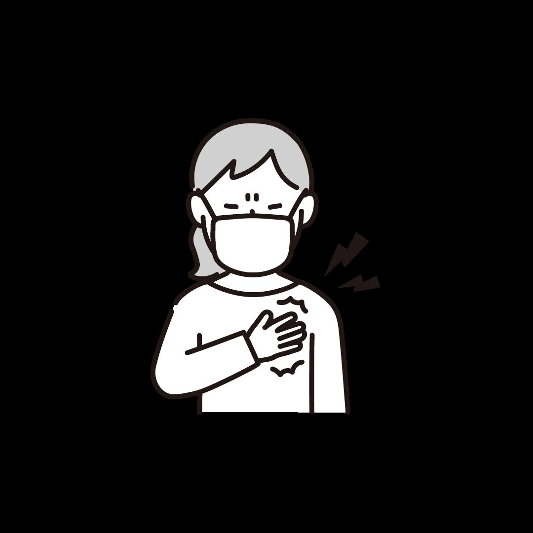 胸が痛い女性の単色イラスト