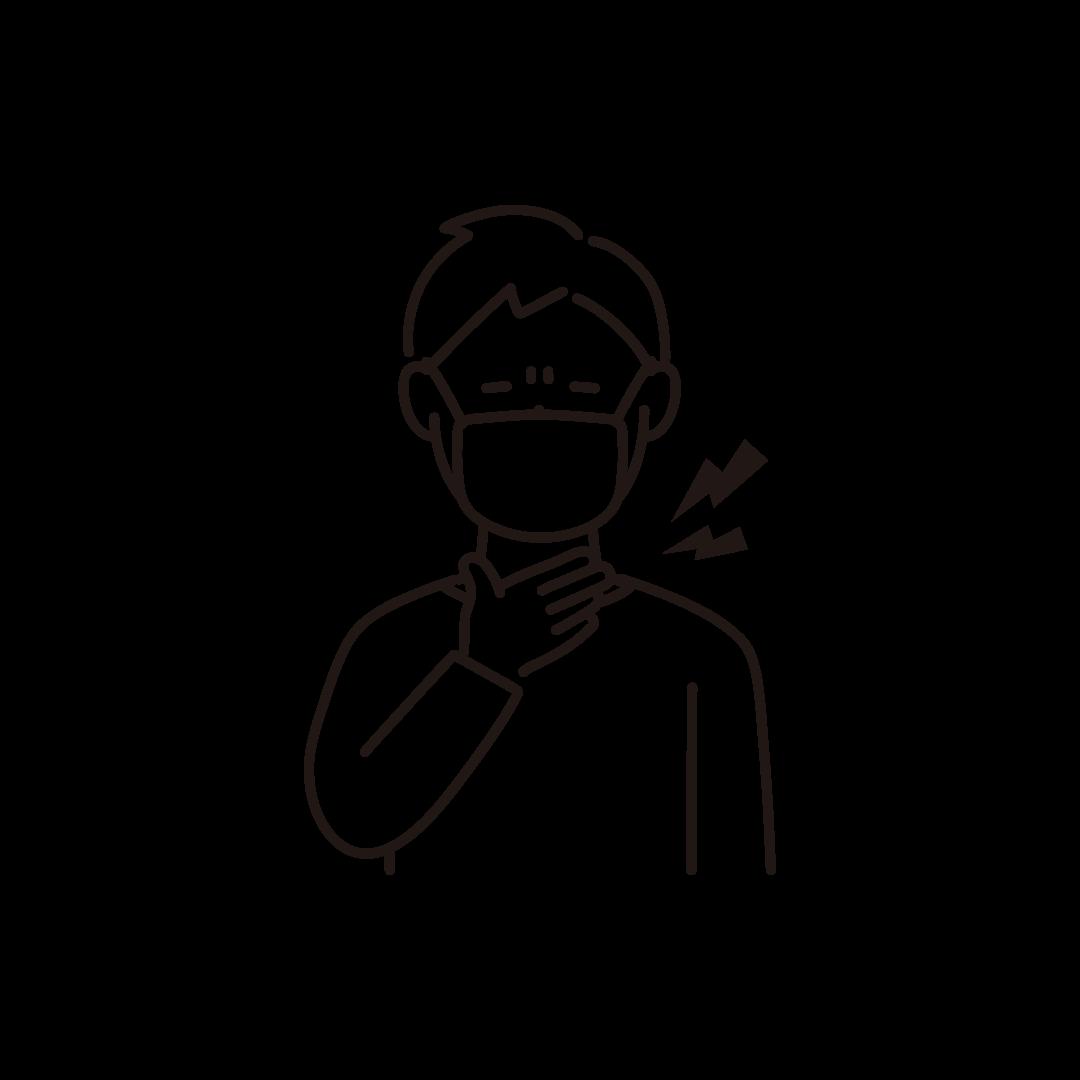 喉が痛い男性の線画イラスト