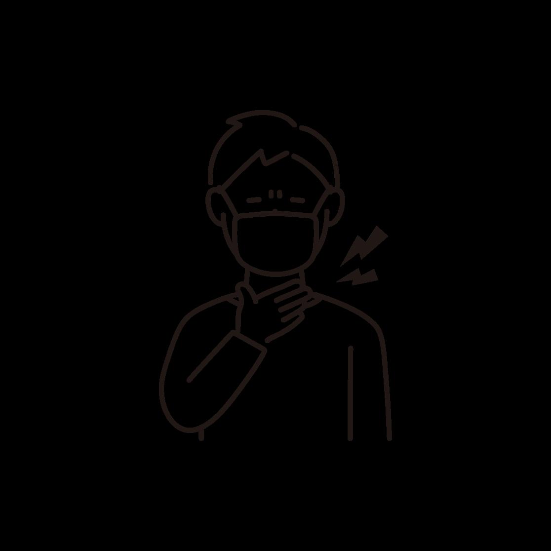 のどが痛い男性の線画イラスト