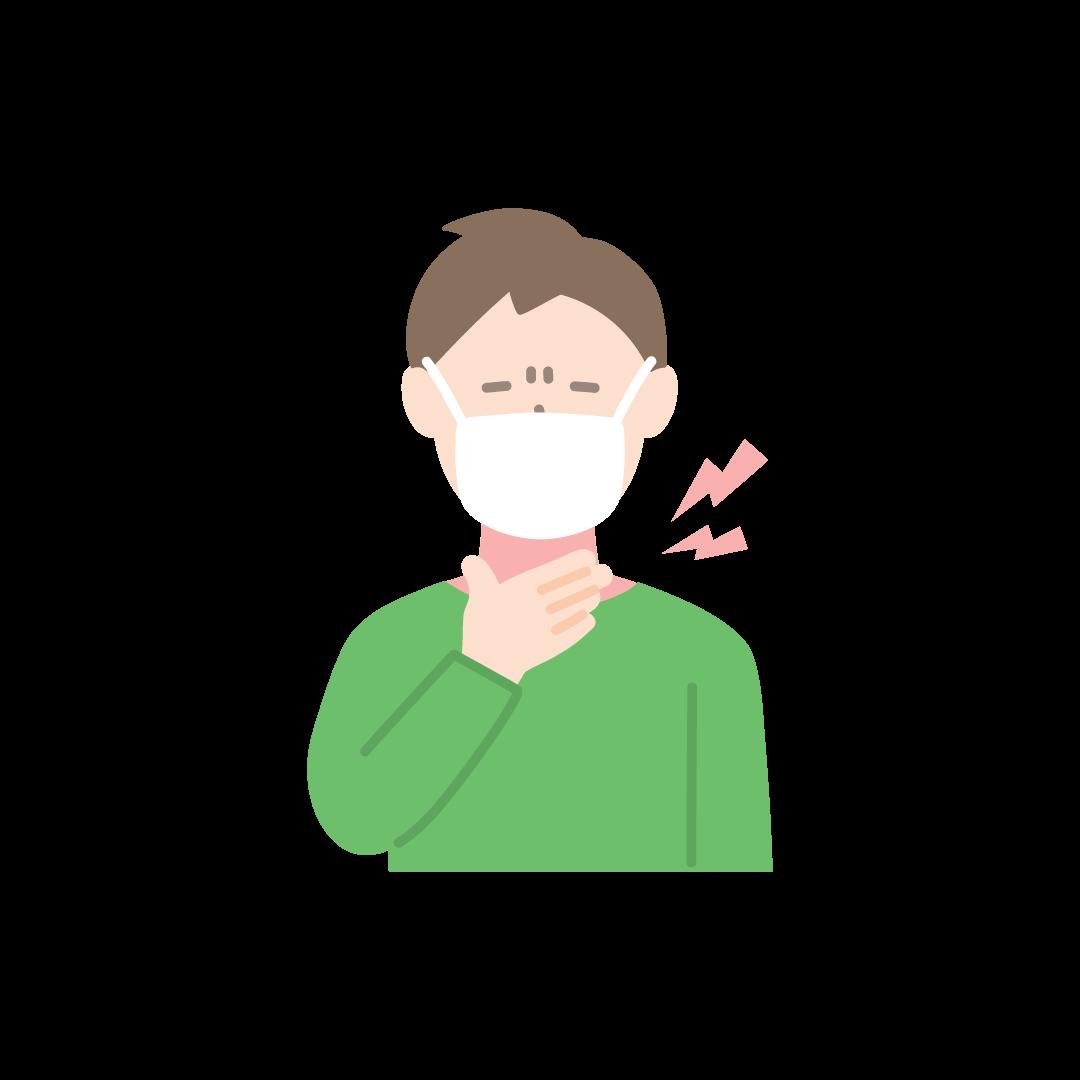 喉が痛い男性の塗りイラスト