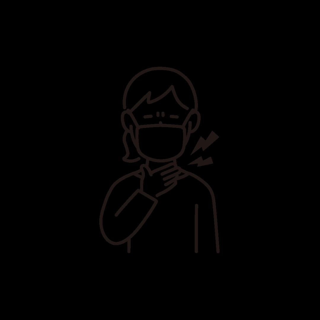 喉が痛い女性の線画イラスト