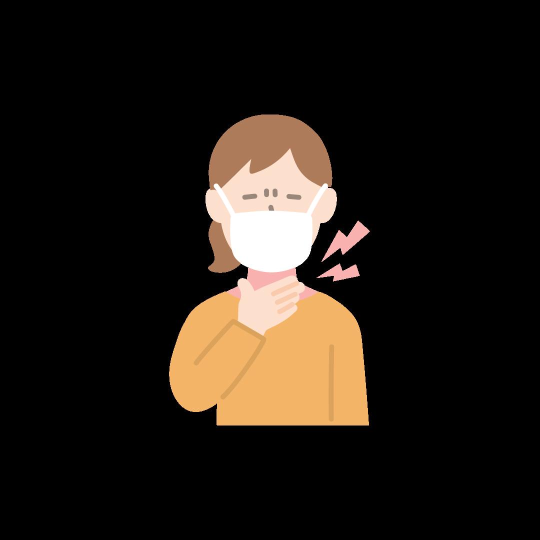 喉が痛い女性の塗りイラスト
