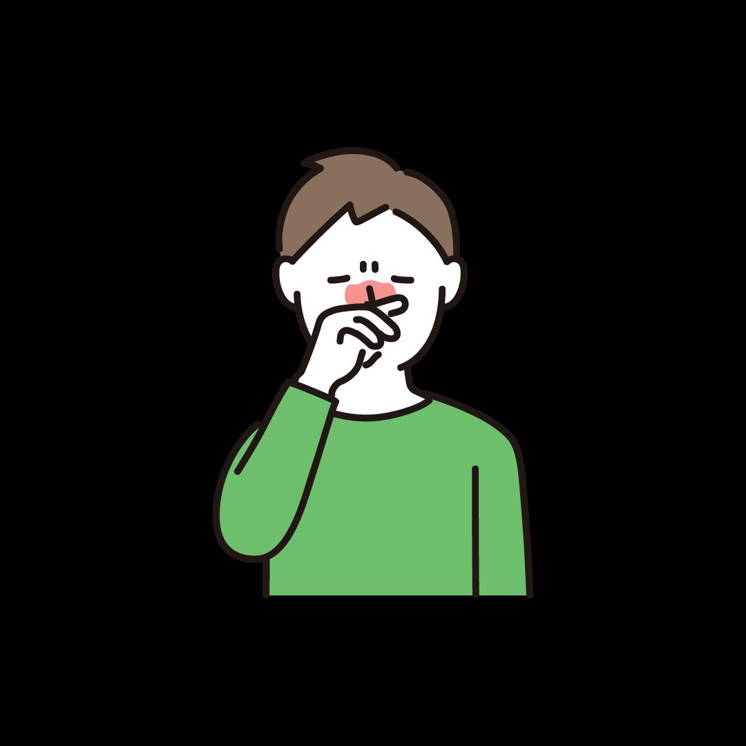 鼻をこする男性のイラスト