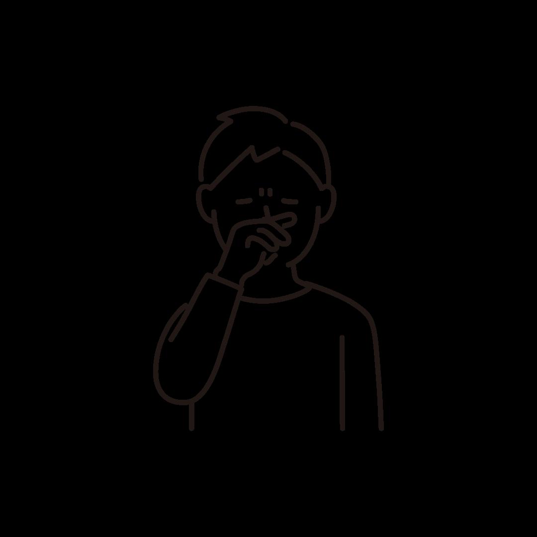 鼻をこする男性の線画イラスト