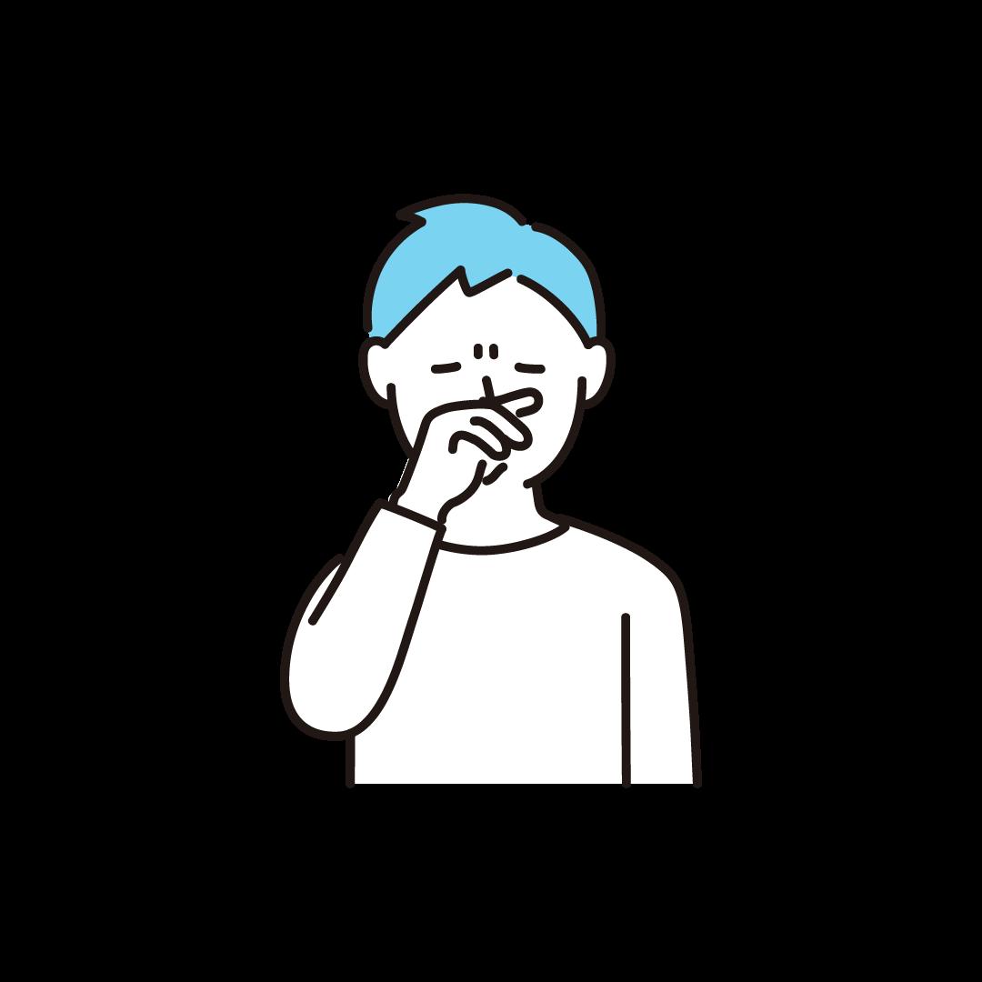 鼻をこする男性の単色イラスト